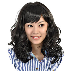 Capless Medium Length High Quality Synthetic Black Curly Hair Wig