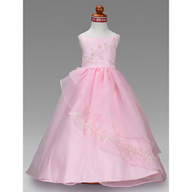 Ball Gown Bateau Floor-length Satin Flower Girl Dress