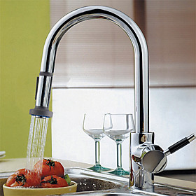Contemporary Solid Brass Pull Down Kitchen Faucet (Chrome Finish)