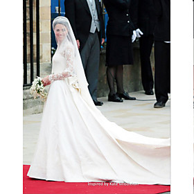 A-line V-neck Lace Satin Royal Length Train Kate Middleton Wedding Dress