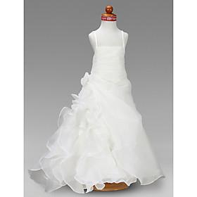 A-line Square Floor-length Satin Flower Girl Dress