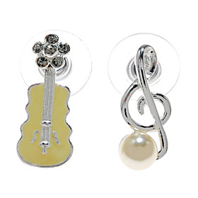 Lovely Shell Pearl/ Rhinestone Guitar And Musical Note Shape Earrings
