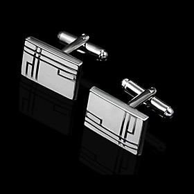 Rectangular Zinc Alloy Cufflinks Groom Wear Accessories