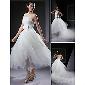 Ball Gown Strapless Asymmetrical Satin Tulle Wedding Dresses for Bride 2009 Style (WGY0074)