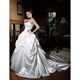 Ball Gown Spaghetti Straps Chapel Train Satin Wedding Dress with A Wrap