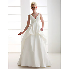 A-line V-neck Sweep/ Brush Train  Taffeta Wedding Dress