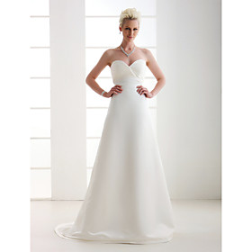 A-line Sweetheart Court Train Satin Wedding Dress