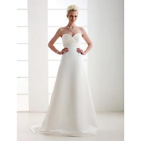 A-line Sweetheart Court Train Satin Wedding Dress