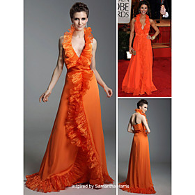 Samantha Harris A-line Halter Floor-length Sleeveless Elastic satin/ Organza Golden Globe/ Evening Dress (FSH0585)