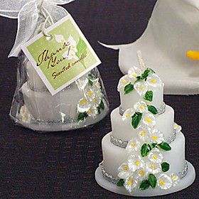 Calla Lily Theme Scented Wedding Cake Candle Favors(set of 4)