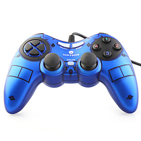 USB Wired Dual-Shock Gaming Controller for PC (Blue)