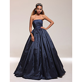 A-line Strapless Floor-length Taffeta Prom/ Evening Dress
