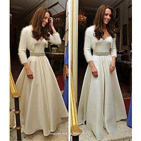 A-line Princess Spaghetti Straps Sweetheart Floor-length Satin Wedding Dress inspired by Kate Middleton
