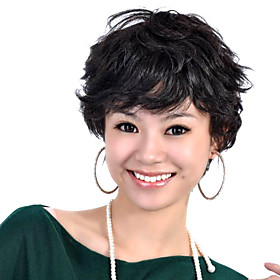 Capless Short 100% Human Hair Black Curly Hair Wig