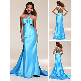 Sheath/ Column V-neck Watteau Train Elastic Silk-like Satin Evening/ Prom Dress