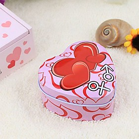 Double Heart Printed Candy/Favor Tin(set of 12)