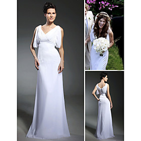 Chiffon Sheath/ Column V-neck Sweep/ Brush Train Wedding Dress inspired by Milla Jovovich  (WSM0452)