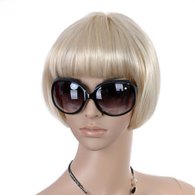 Capless Short High Quality Synthetic Light Blonde Bob Style Hair Wig