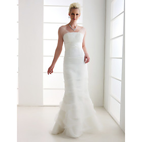 Trumpet/ Mermaid Off-the-shoulder Floor-length Tulle Wedding Dress