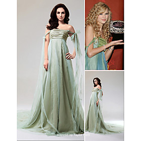 A-line Strapless Chapel Train Tulle Taffeta Taylor Swift Dresses / Evening Dresses (FSD0338)