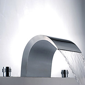 Contemporary Brass Waterfall Bathroom Sink Faucet (Widespread)