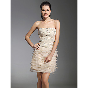 Sheath/ Column Strapless Short/ Mini  Satin Lace Cocktail Dress