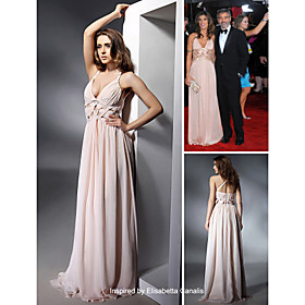 Elisabetta Canalis Sheath/ Column Halter Floor-length Sleeveless Chiffon/ Elastic satin Golden Globe/ Evening Dress (FSH0546)