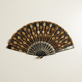 Black Peacock Design Fans (set of 6)