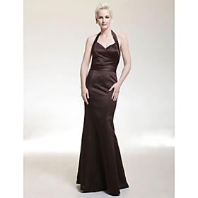Trumpet/ Mermaid Halter Floor-length Satin Bridesmaid/ Wedding Party Dress