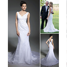 Tulle Over Satin Trumpet/ Mermaid V-neck Court Train Wedding Dress inspired by Jenna Bush