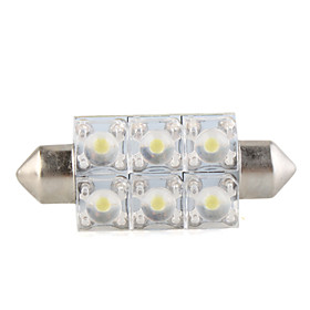0.6W Dome 6 LED SMD Interior Bulb Light 41mm