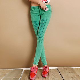 Color Cutout Pants