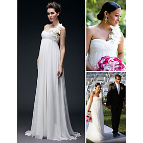 Chiffon Empire One Shoulder Floor-length Flower Wedding Dress on Strap inspired by Tia Mowry (WSM0449)