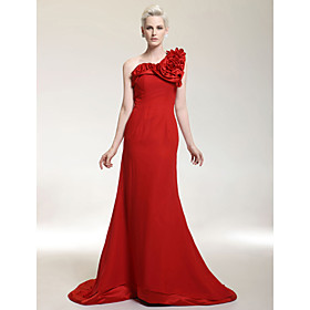 Chiffon Mermaid One Shoulder Sweep Train Evening Dress inspired by Christina Hendricks at Golden Globe Award