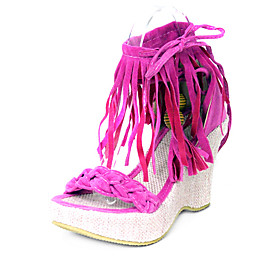 Suede Upper Wedge Heel Sandals With Beading Casual Shoes.More Colors Available