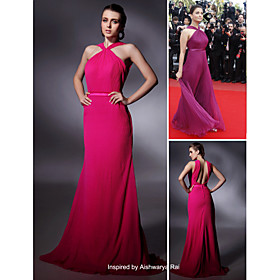 Aishwarya Rai Sheath/ Column V-neck Floor-length Sleeveless Organza/ Elastic satin Cannes Film Festival/ Evening Dress (FGY0795)