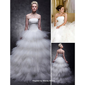 Tulle Over Satin Ball Gown Sweep/ Brush Train Tiered Wedding Dress inspired by Mandy Moore in License to Wed (WSM0364)