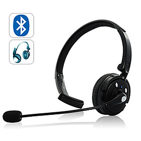 Over-the-head Bluetooth Headset with Boom Mic (18 hours talk time)
