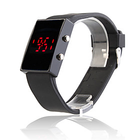 Black Silicone Band Mirror Face Red LED Sports Wrist Watch