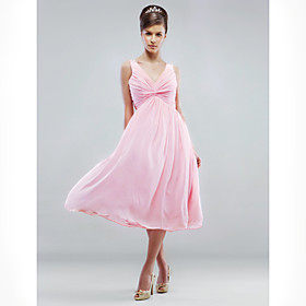 A-line V-neck Knee-length Chiffon Bridesmaid/ Wedding Party Dress