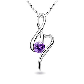 925 Sterling Silver Platinum Plated Pendant with Shining Rhinestone