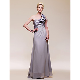A-line One Shoulder Floor-length Chiffon Taffeta Evening Dress