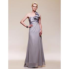 A-line One Shoulder Floor-length Chiffon Taffeta Evening Dress