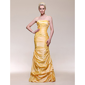 Trumpet/ Mermaid Strapless Dropped Floor-length Taffeta Evening Dress