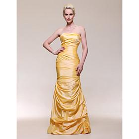 Trumpet/ Mermaid Strapless Dropped Floor-length Taffeta Evening Dress