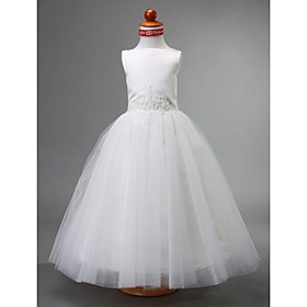 Ball Gown Bateau Tea-length Satin Flower Girl Dress