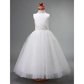 Ball Gown Bateau Tea-length Satin Flower Girl Dress
