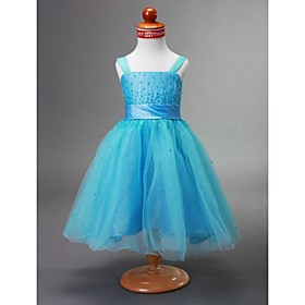 Ball Gown Straps Tea-length Taffeta Flower Girl Dress
