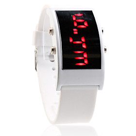 White Silicone Band Square Frame Unisex Red LED Sports Wrist Watch