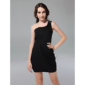 Sheath/ Column One Shoulder Short/ Mini Chiffon Cocktail Dress bachelorette party dress